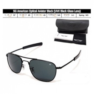 KACAMATA SPORT SG American Optical Aviator Black (Black Lens)