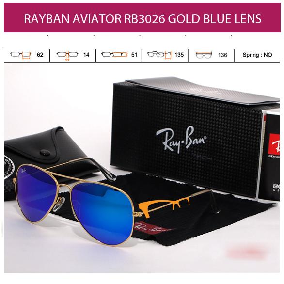KACAMATA RAYBAN AVIATOR RB3026 GOLD BLUE LENS