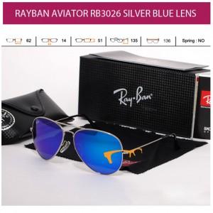 KACAMATA RAYBAN AVIATOR RB3026 SILVER BLUE LENS