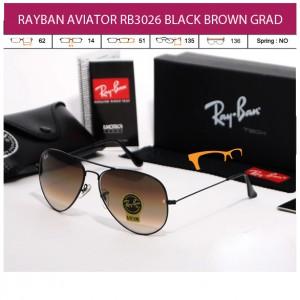 KACAMATA RAYBAN AVIATOR RB3026 BLACK BROWN GRAD