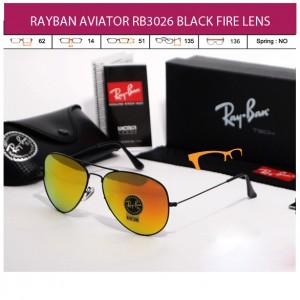 KACAMATA RAYBAN AVIATOR RB3026 BLACK FIRE LENS