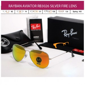 RAYBAN AVIATOR RB3026 SILVER FIRE LENS