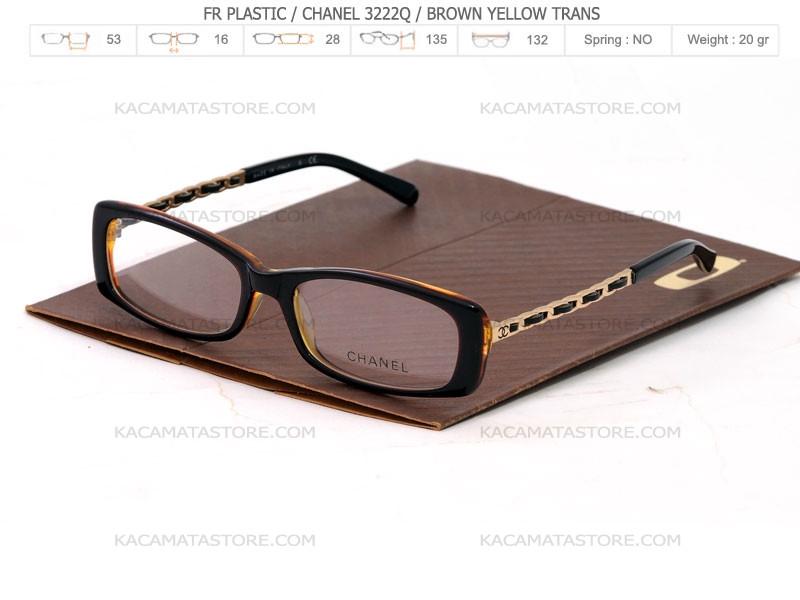 jual kacamata chanel 3222q brown yellow trans