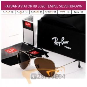 RAYBAN AVIATOR RB 3026 TEMPLE SILVER BROWN