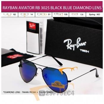 RAYBAN AVIATOR RB 3026 BLACK BLUE DIAMOND LENS