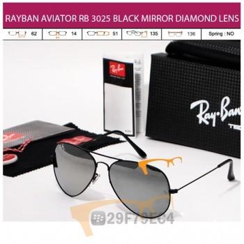 RAYBAN AVIATOR RB 3026 BLACK MIRROR DIAMOND LENS