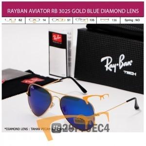 RAYBAN AVIATOR RB 3026 GOLD BLUE DIAMOND LENS
