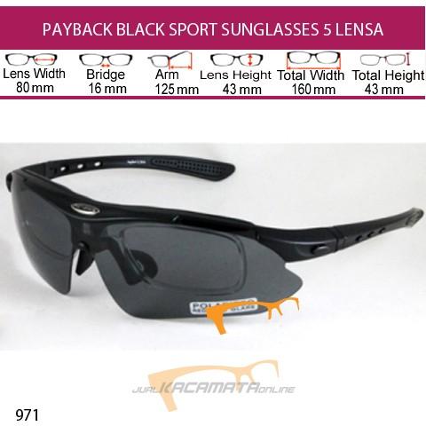 PAYBACK BLACK SPORT SUNGLASSES 5 LENSA