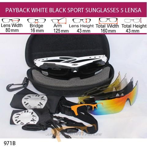 PAYBACK WHITE BLACK SPORT SUNGLASSES 5 LENSA