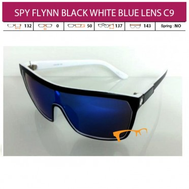 SPY FLYNN BLACK WHITE BLUE LENS C9