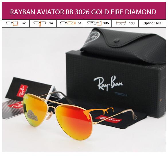 JUAL KACAMATA RAYBAN AVIATOR RB 3026 GOLD FIRE DIAMOND LENS