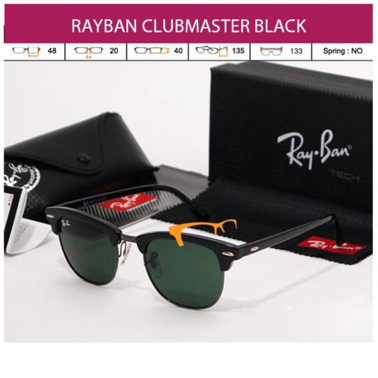 jual kacamata rayban clubmaster black grey