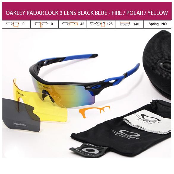 KACAMATA OAKLEY RADAR LOCK 3 LENS BLACK BLUE - FIRE POLAR YELLOW
