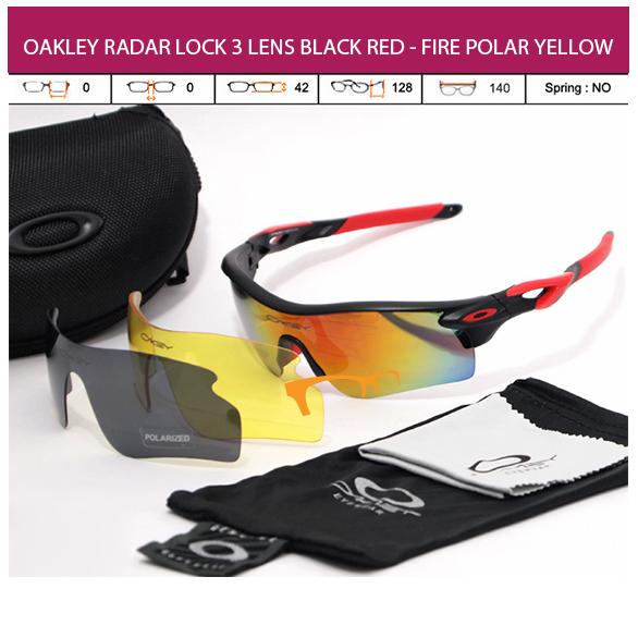 KACAMATA OAKLEY RADAR LOCK 3 LENS BLACK RED - FIRE POLAR YELLOW