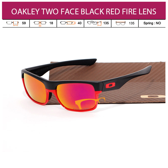 JUAL KACAMATA ONLINE OAKLEY TWO FACE BLACK RED FIRE LENS