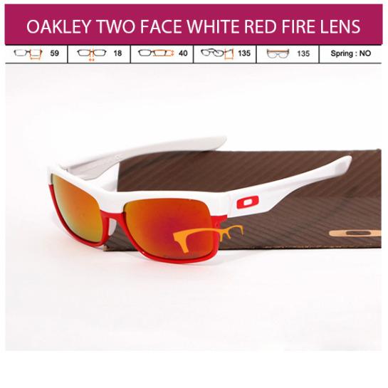 KACAMATA OAKLEY TWO FACE WHITE RED FIRE LENS