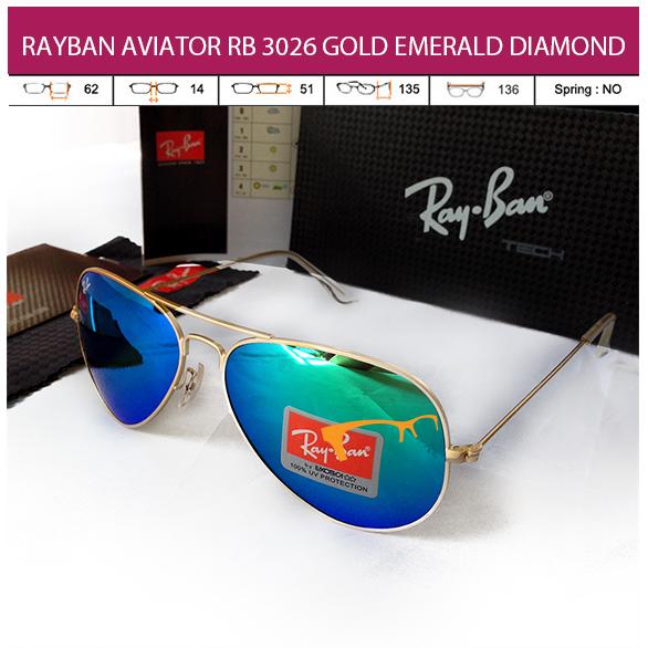 JUAL KACAMATA RAYBAN AVIATOR RB 3026 GOLD EMERALD DIAMOND LENS