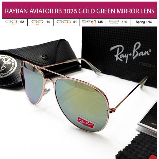 JUAL KACAMATA ONLINE RAYBAN AVIATOR RB 3026 GOLD GREEN MIRROR