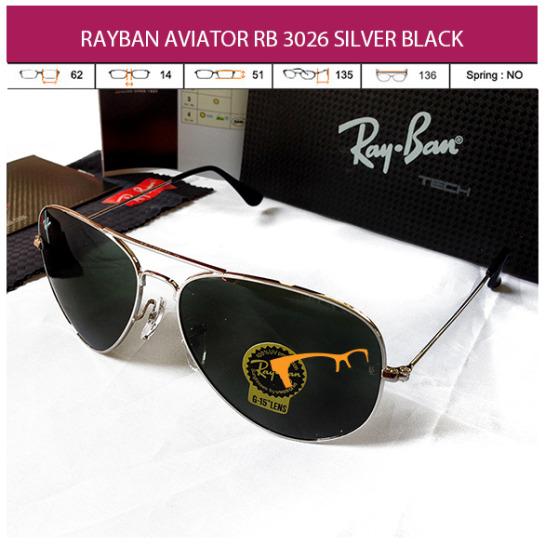JUAL KACAMATA RAYBAN AVIATOR RB 3026 SILVER BLACK