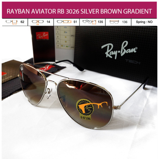 RAYBAN AVIATOR RB 3026 SILVER BROWN GRADIENT