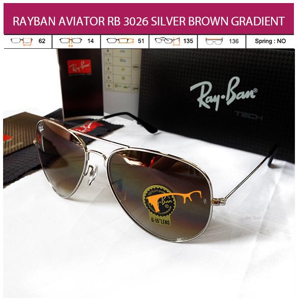 JUAL KACAMATA RAYBAN AVIATOR RB 3026 SILVER BROWN GRADIENT