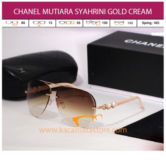 kacamata chanel mutiara syahrini gold cream