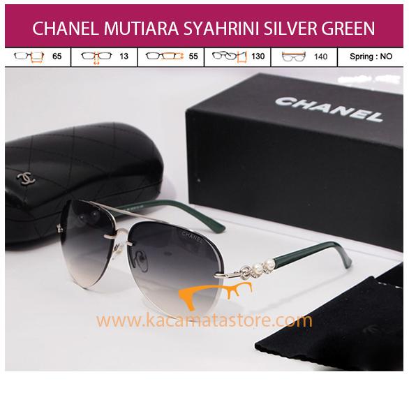 kacamata chanel mutiara syahrini silver green