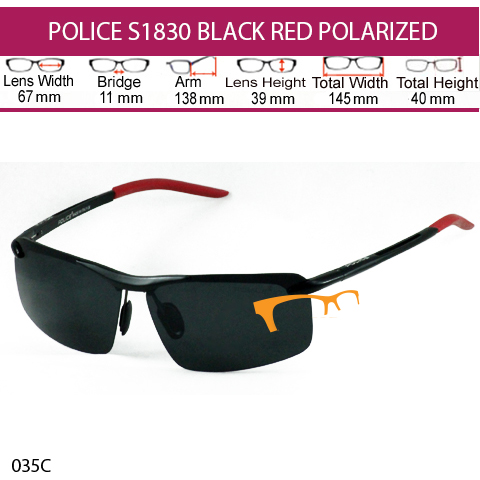 JUAL KACAMATA POLICE S1830 BLACK RED POLARIZED