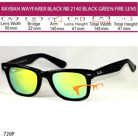 JUAL KACAMATA RAYBAN WAYFARER BLACK RB 2140 BLACK GREEN FIRE LENS