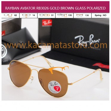 RAYBAN AVIATOR RB3026 GOLD BROWN GLASS POLARIZED