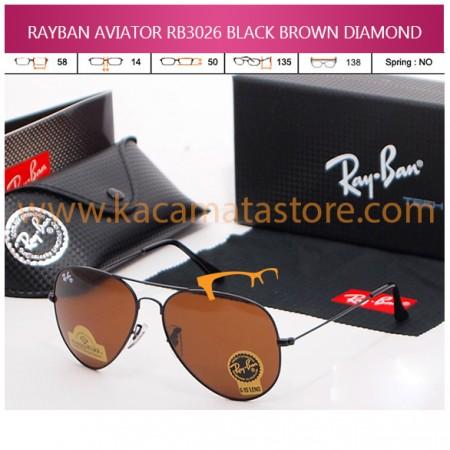 JUAL KACAMATA ONLINE RAYBAN AVIATOR RB3026 BLACK BROWN DIAMOND