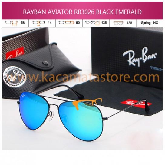 JUAL KACAMATA ONLINE RAYBAN AVIATOR RB3026 BLACK EMERALD