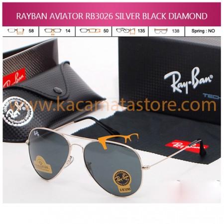 JUAL KACAMATA ONLINE RAYBAN AVIATOR RB3026 SILVER BLACK DIAMOND