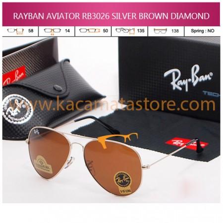 JUAL KACAMATA ONLINE RAYBAN AVIATOR RB3026 SILVER BROWN DIAMOND