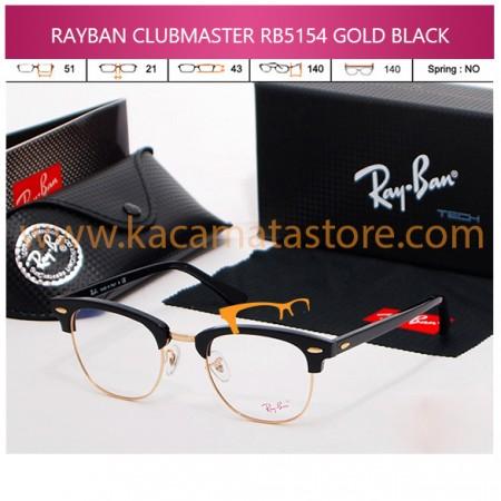 KACAMATA BACA RAYBAN CLUBMASTER RB5154 GOLD BLACK