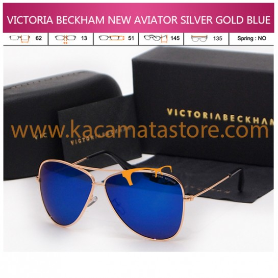 VICTORIA BECKHAM NEW AVIATOR SILVER GOLD BLUE