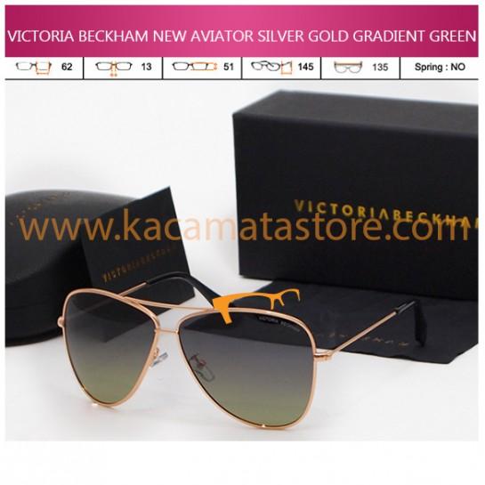 JUAL KACAMATA ONLINE VICTORIA BECKHAM NEW AVIATOR SILVER GOLD GRADIENT GREEN
