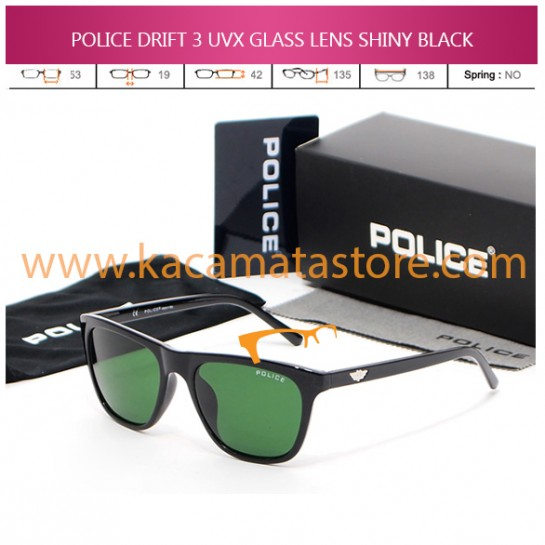 JUAL KACAMATA POLICE DRIFT 3 UVX GLASS LENS SHINY BLACK