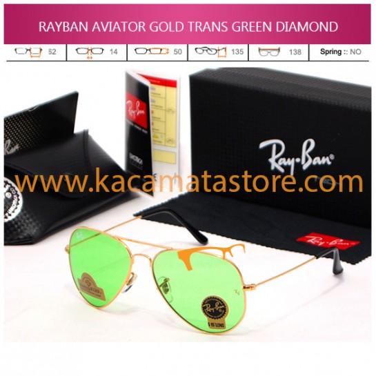 JUAL KACAMATA ONLINE RAYBAN AVIATOR GOLD TRANS GREEN DIAMOND