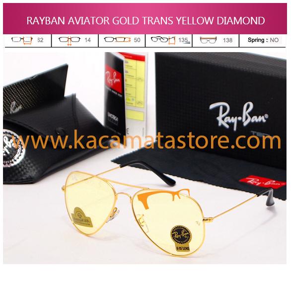 JUAL KACAMATA ONLINE RAYBAN AVIATOR GOLD TRANS YELLOW DIAMOND