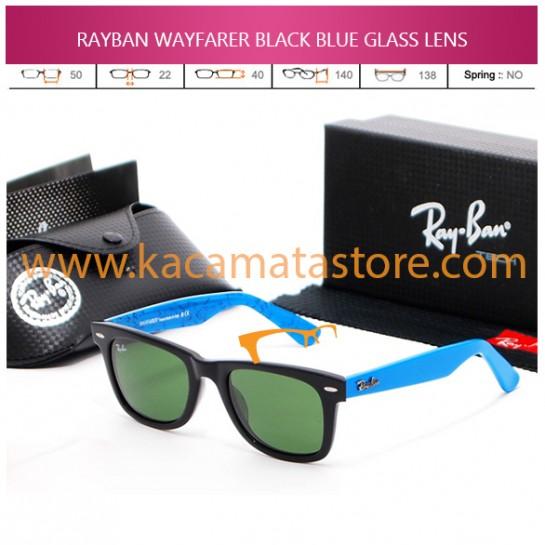 JUAL KACAMATA ONLINE RAYBAN WAYFARER BLACK BLUE GLASS LENS