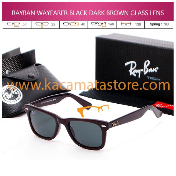 JUAL KACAMATA ONLINE RAYBAN WAYFARER BLACK DARK BROWN GLASS LENS
