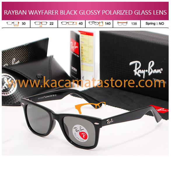 JUAL KACAMATA ONLINE RAYBAN WAYFARER BLACK GLOSSY POLARIZED GLASS LENS