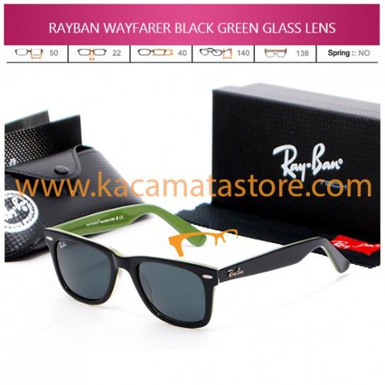 JUAL KACAMATA ONLINE RAYBAN WAYFARER BLACK GREEN GLASS LENS