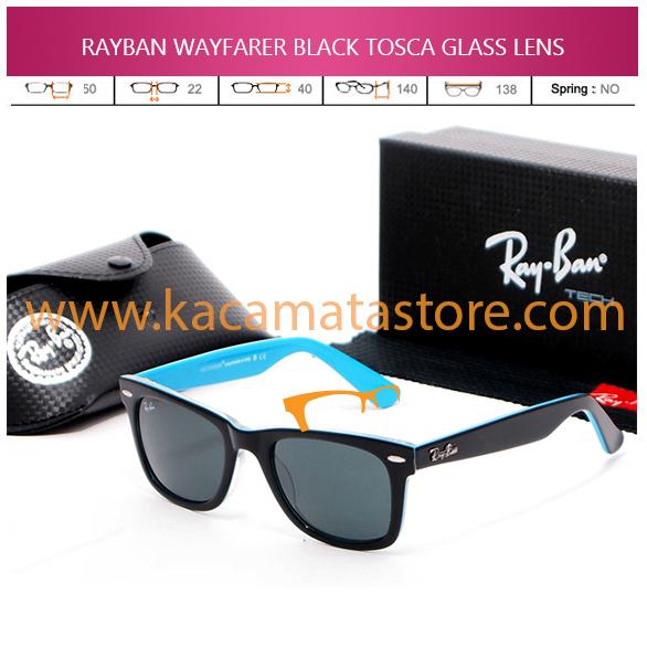JUAL KACAMATA ONLINE RAYBAN WAYFARER BLACK TOSCA GLASS LENS