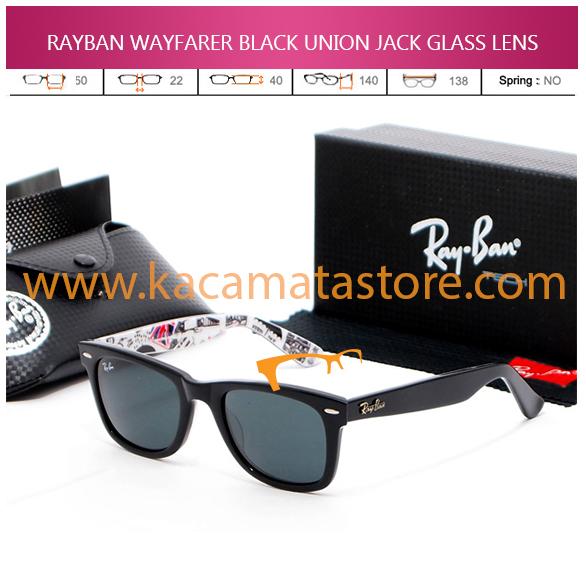 JUAL KACAMATA ONLINE RAYBAN WAYFARER BLACK UNION JACK GLASS LENS