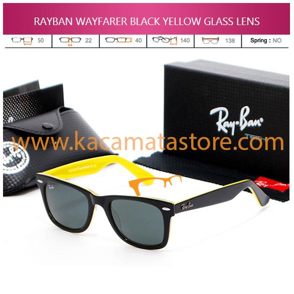 JUAL KACAMATA ONLINE RAYBAN WAYFARER BLACK YELLOW GLASS LENS