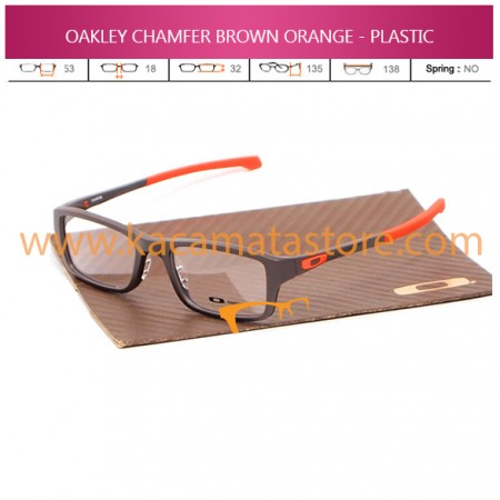 JUAL FRAME KACAMATA OAKLEY CHAMFER BROWN ORANGE - PLASTIC