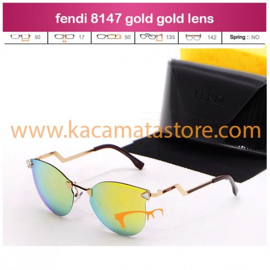 jual kacamata wanita model terbaru fendi 8147 gold gold lens