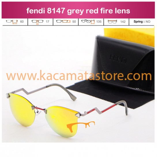 jual kacamata grosir kw super fendi 8147 grey red fire lens